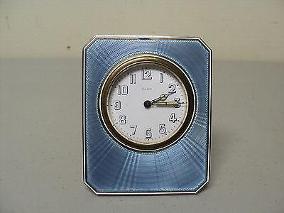 ANTIQUE ART DECO 8-DAY TRAVEL CLOCK, STERLING & BLUE GUILLOCHE ENAMEL CASE