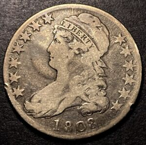 1808/7 Capped Bust Silver Half Dollar 50c O-101 Variety Early Overdate Type Coin