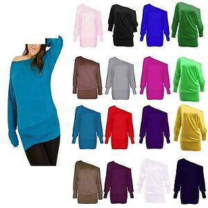 WOMENS-BATWING-PLUS-SIZE-BAGGY-TOP-JUMPER-JERSEY-LADIES-LONG-SLEEVE-PLAIN-UK8-26