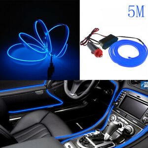 Universal-Car-5M-Interior-LED-Decor-Wire-Strip-Atmosphere-Neon-Cold-Light-Blue