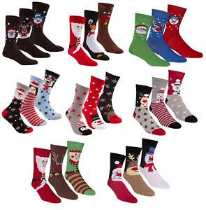 Mens-Ladies-3-Pack-of-Christmas-Xmas-Novelty-Socks-Penguin-Santa-Snowman