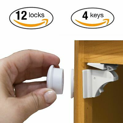 12 Locks + 2 Keys GLOUE Safety Magnetic Locks for Cabinet and Drawers Child Latches Baby Proofing Cabinets Locks