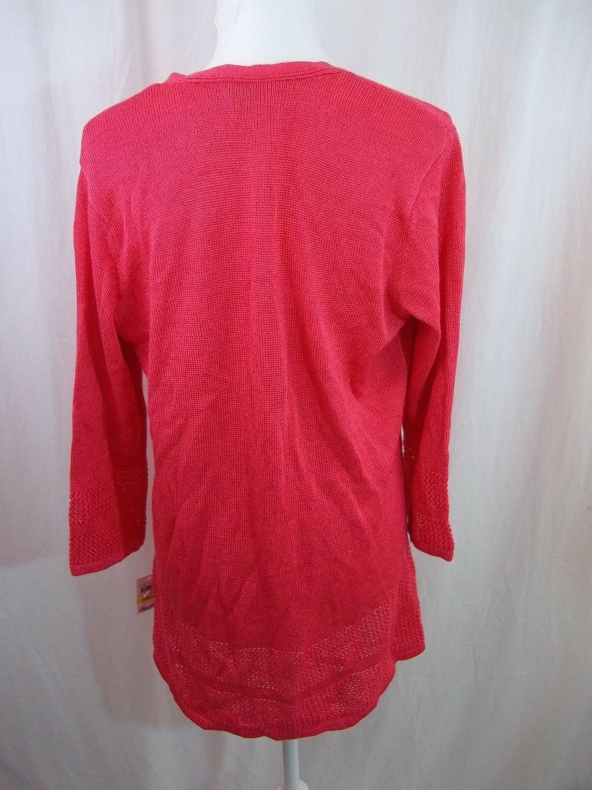 Charter Club Club Club Women's Cardigan Sweater Open Front Coral Size M 3 4 Sleeve NWT New f071b1