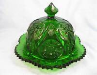 Yultec Pressed Glass Dark Green Butter Dish Kemple Wheaton Reproduction O AS IS