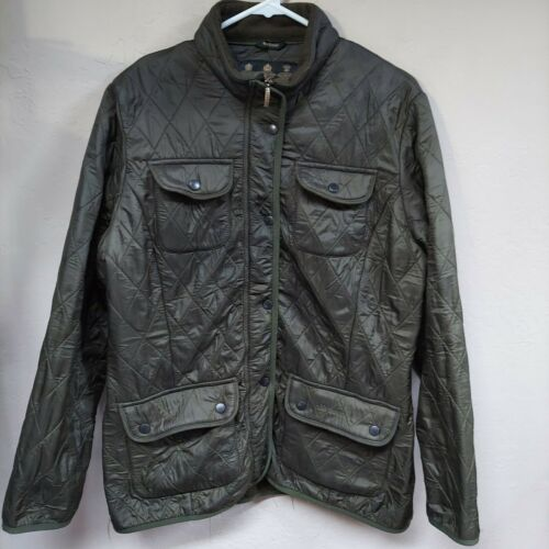 Barbour Womens Diamond-Quilted Puffer Jacket Flap