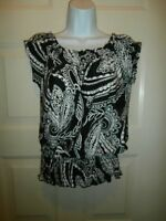 Sunny Leigh Top Small Blouse Spandex Paisley Black White