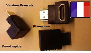 Adaptateur HDMI Mâle-Femelle 90° Angle droit vertical. Neuf vendeur FR 2-9