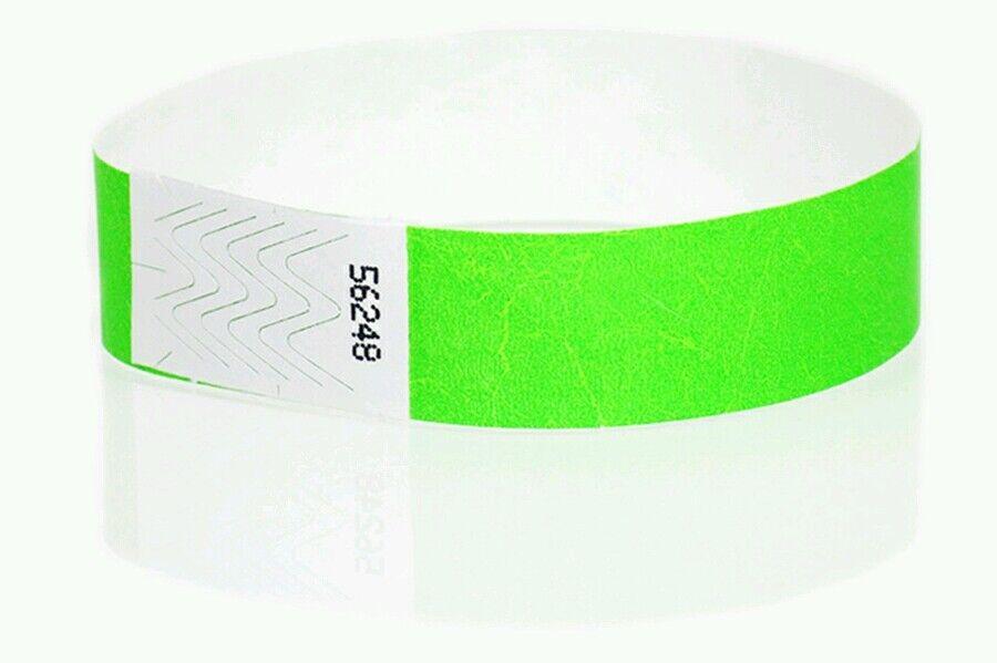 10,000 Neongrün Tyvek Armbänder, Neongrün Papier Armbänder, Armbänder | Elegante Form  | Online-verkauf