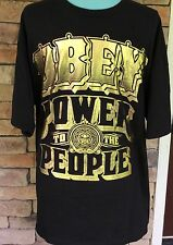 OBEY Power To The People Gold Printed Black Cotton T-Shirt - Size XL Men's