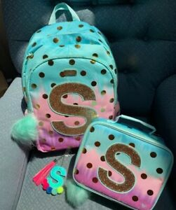 """JUSTICE PASTEL POLKADOT OMBRE BACKPACK//LUNCHBOX//BAG CHARM INITIAL""""M,S"""" Wow!!"""