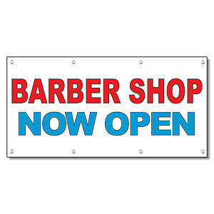 Barber Shop Now Open Red Blue 13 Oz Vinyl Banner Sign With Grommets ...