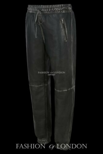 Men/'s Leather Trouser Black Vintage Nappa Jogging Bottom Sweat Track Pants 3040