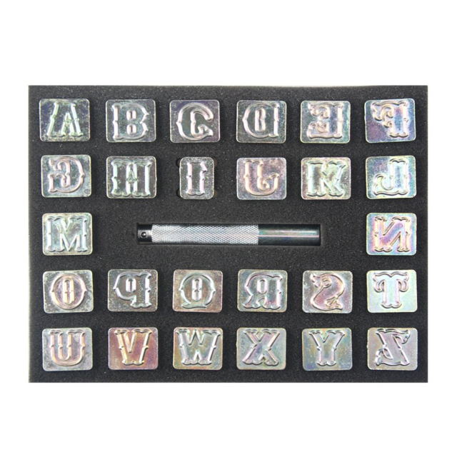 3//4 In... OWDEN Professional 27 Pieces Alphabet Stamp Tool Set for Leathercraft