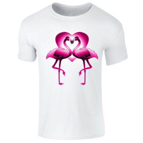 Kids Sizes Womens Flamingo Love Heart Neon Tropical T-shirt Mens