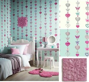 Tiffany Stripe Girls Bedroom Butterfly Heart Wallpaper & Matching ...