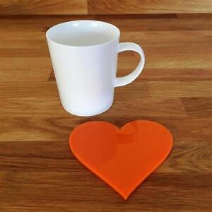 """Marque Populaire En Forme De Cœur Orange Brillant Acrylique Coasters, Ensembles De 4, 6 Ou 8, 11 Cm 4""""-afficher Le Titre D'origine Belle En Couleur"""