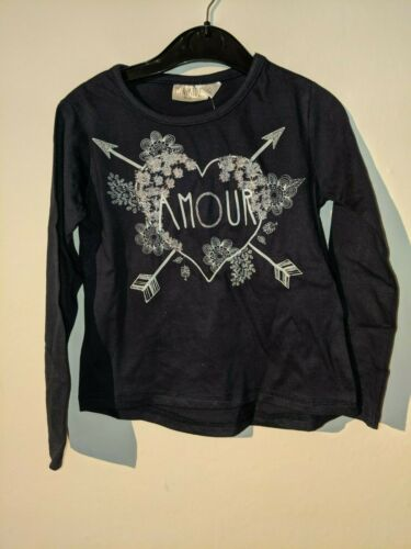 Girls Long Sleeve Top Amour Love Paris 2 3 4 5 6 years navy white pink