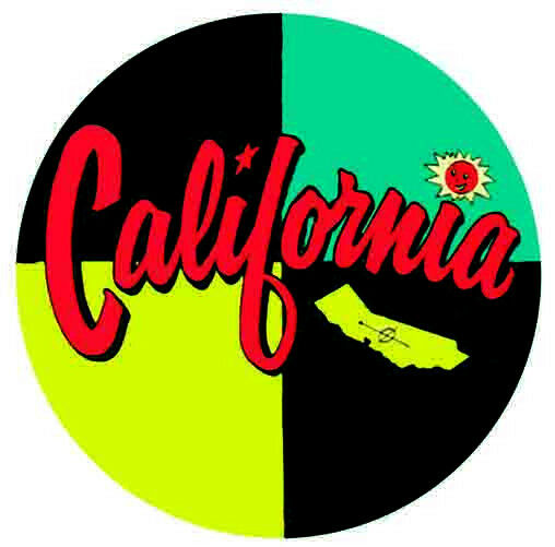 California   CA     1950's-Style Vintage Travel Decal/Sticker