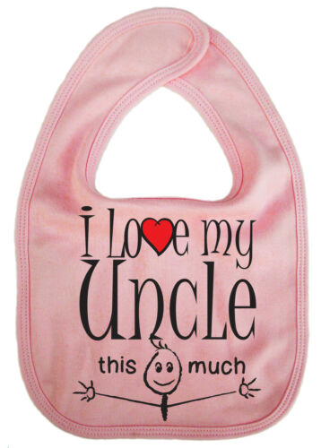"Baby Bib /""I love my Aunty Uncle Mummy Daddy Grandma Nanny Grandpa/"" Boy Girl Gift"