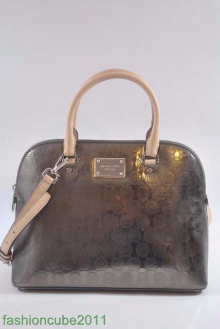 749a196384b3 australia new michael kors cindy large dome mirror mettallic leather  satchel nickel f54d5 1a5f6
