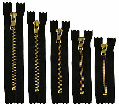 """New Brass Jean Trouser Zip NO 5 Zipper Closed End Black 4/"""" 5/"""" 6/"""" 7/"""" And 8/""""Inch"""