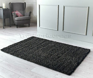 SMALL-EXTRA-LARGE-THICK-PILE-CHUNKY-BLACK-amp-CHARCOAL-GREY-ANTHRACITE-MIX-SHAGGY
