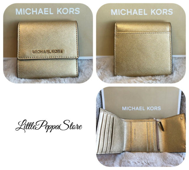 fdc669e02dff NWT MICHAEL KORS JET SET TRAVEL LEATHER SMALL CARD CASE TRIFOLD WALLET GOLD