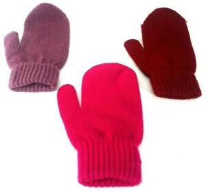 3-PACK-Kids-Gloves-Stretchy-Knit-Mitten-Winter-Boys-Girls-Children-Color-AGE-3-9