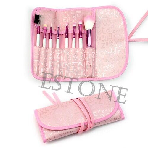 8 Pcs Nice Chic Pro Eyeshadow Cosmetic Brush Kit + Pink Case Makeup Brushes Set