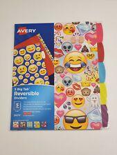 Avery 5 Big Tab Reversible Fashion Paper Dividers 5 Color Design Tabs Emoji