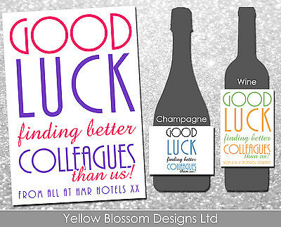 Personnalise De Vin Bouteille De Champagne Etiquette Drole Humour Nouvel Emploi Travail Comique Cadeau Ebay