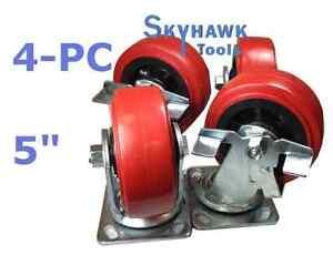 "4pc 2200lb-Capacit<wbr/>y 5"" PU WHEEL SWIVEL TOP PLATE CASTER SET w/ 2 Locking Wheels"