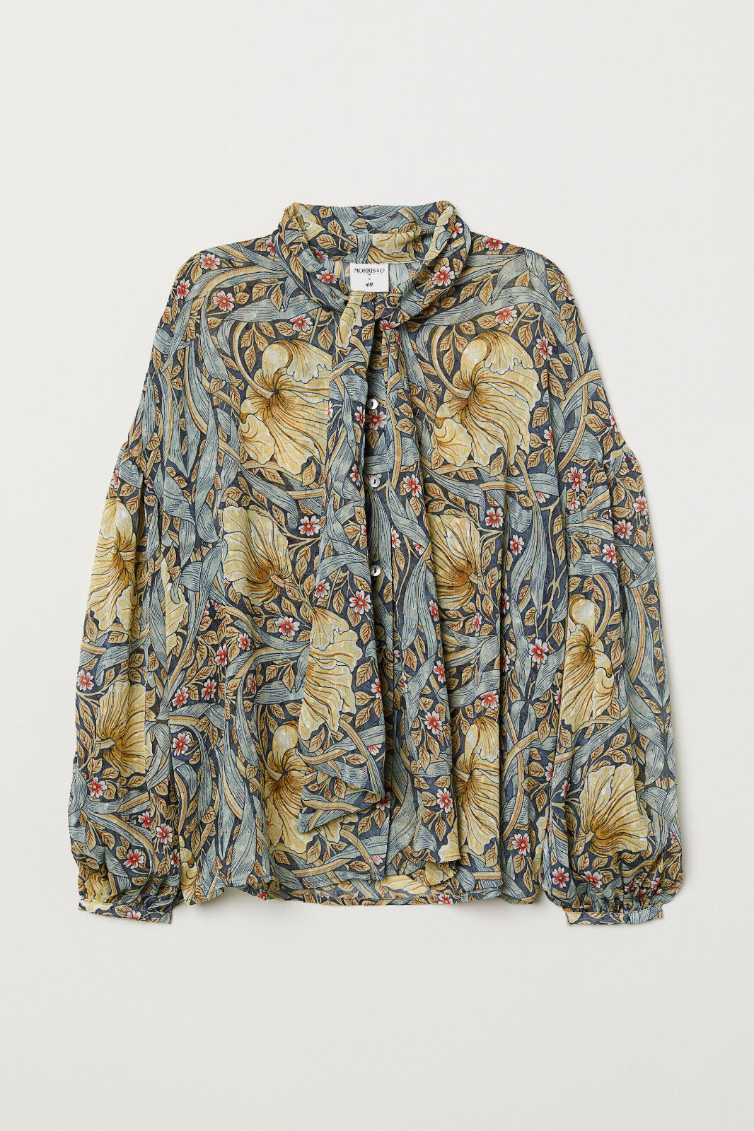 WILLIAM MORRIS & CO H&M blueE FLORAL PATTERENED BLOUSE TOP