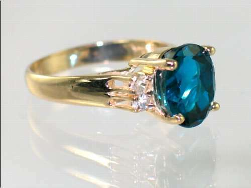 London bluee Topaz, Solid 10KY or 14KY gold Ladies Ring, R123-Handmade
