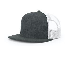 Richardson NEW Wool Blend Flat Bill Trucker Cap Mesh Snap Back Baseball Hat
