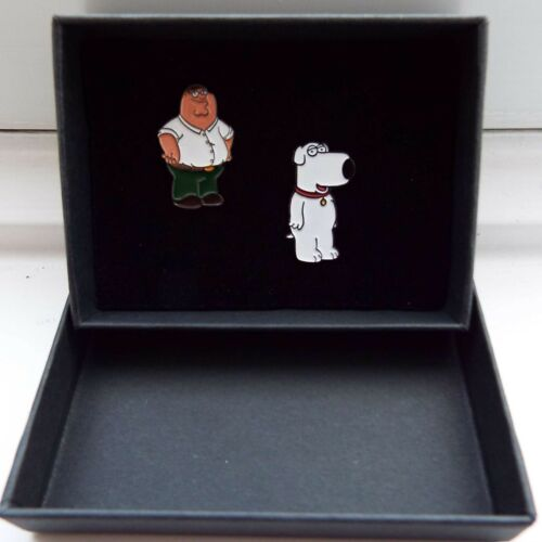 Family Guy Peter Griffin and Brian Griffin metal enamel pin badges Gift box set