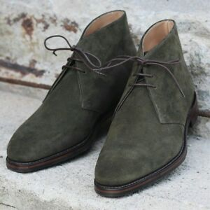 77083e6f55d29 Details about Handmade Mens dark green suede chukka boots, Men green lace  up suede leather boo