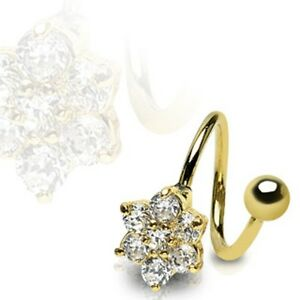 Gold-Plated-Surgical-Steel-Twister-Multi-CZ-Paved-Flower-Belly-Bar-Navel-Ring