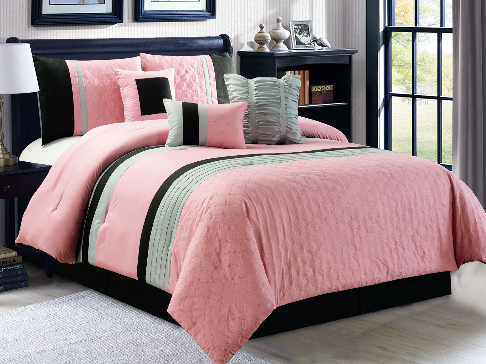 new 7 pc queen size embossed pleated ruffle pink black silver gray comforter set ebay. Black Bedroom Furniture Sets. Home Design Ideas