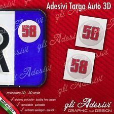 2 Adesivi Stickers bollino 3D Resinato targa Auto Moto 58 SIC Simoncelli Bianco