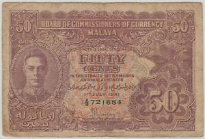 Mazuma *M1240 Malaya 1941 KGVI 50 Cents A/18 721684 VF