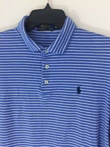 Ralph-Lauren-Polo-Medium-Mens-Blue-amp-White-Stripe-Polo-Golf-Shirt-Blue-Pony-Logo