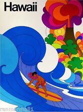 Hawaii Surf by Airplane Vintage United States Travel Advertisement Art Poster