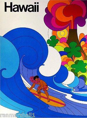 Hawaii Surf Big Wave Vintage United States Travel Advertisement Art Poster