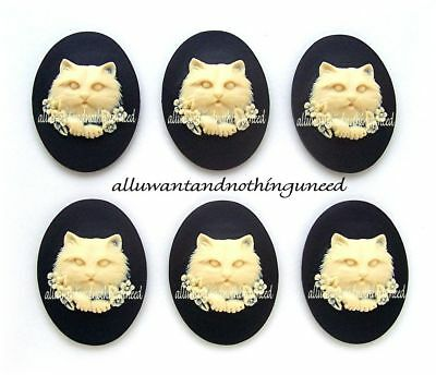 6 IVORY color HIBISCUS Flower on BLACK 40mm x 30mm Costume Jewelry Crafts CAMEOS