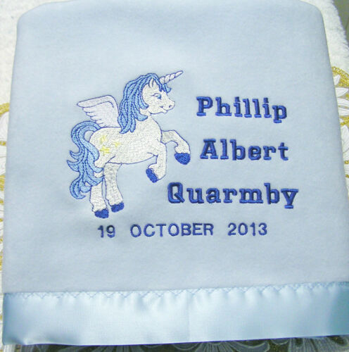 NEW Unicorn Fantasy Polar Fleece SatinTrim Baby Blanket
