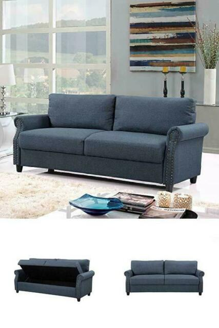 Modern Living Room Blue Linen Storage Sofa Nailhead Trim Small E Furniture