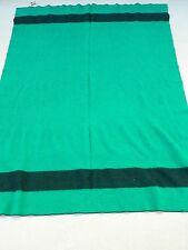 VTG  LL Bean 100% Wool Trapper Blanket Heavy GREEN BLACK STRIPE  80 x 60