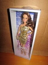 Barbie Look Doll Gold dress City Shine Eyelashes Brown Hair Closed Mouth