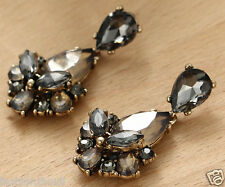 Wholesale 1pair Woman's Brown Crystal Rhinestone Long Ear Stud Hoop earrings 165
